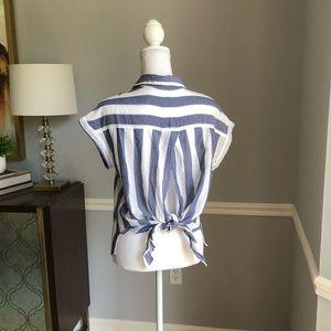 Soft striped linen open back tie top
